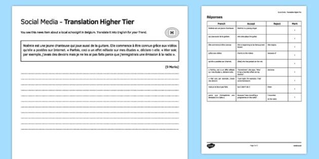 Social Media Higher Tier Translation Activity Sheet, worksheet