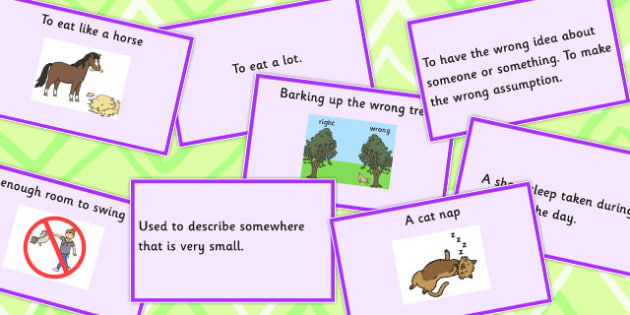 Animal Idioms Matching Cards Set 3 - animal, idioms, match, cards