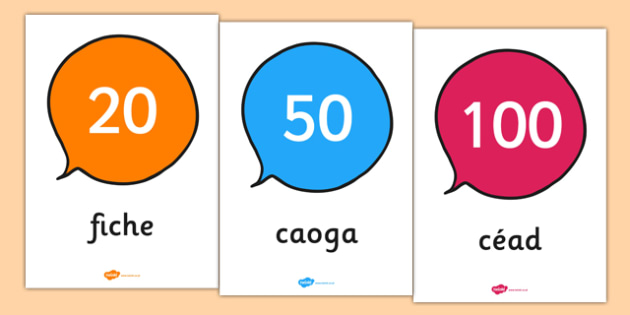 Gaeilge Numbers 0 to 100 Counting in 10s - gaeilge, numbers, 0-100, counting, count, 10s