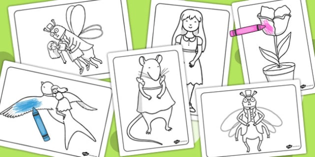 Thumbelina Colouring Sheets - colour, colour in, stories, books