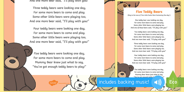 Five Teddy Bears Song - EYFS, Early Years, Toys, teddies, number rhyme, counting song, toy songs