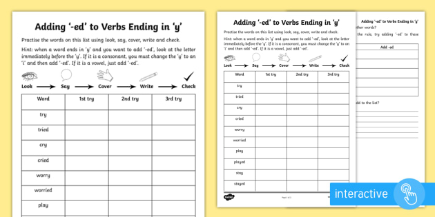 Year 2 Spelling Practice Adding Ed To Verbs Ending In Y