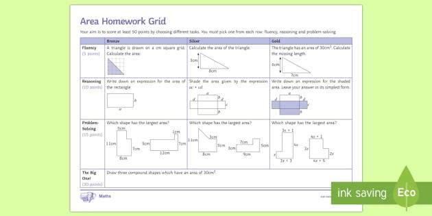 KS3 Area Mastery Homework Grid - Area, rectangle, triangle, compound