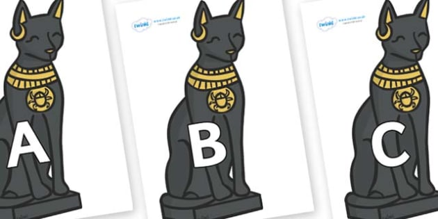 A-Z Alphabet on Egyptian Cats - A-Z, A4, display, Alphabet frieze, Display letters, Letter posters, A-Z letters, Alphabet flashcards