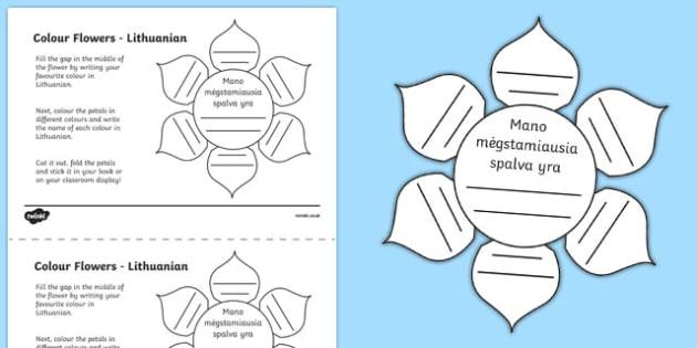 MFL Lithuanian Colour Flowers Activity Sheet, worksheet