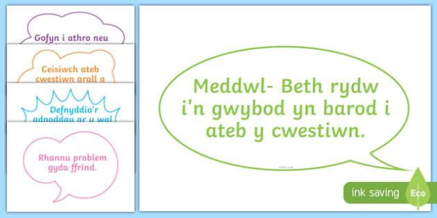 Posteri Beth i wneud pan rwyf angen cymorth - welsh, cymraeg, cymorth, datrys problemau, annibynnol