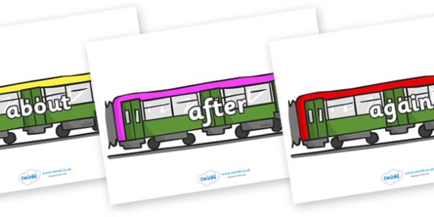 KS1 Keywords on Trains - KS1, CLL, Communication language and literacy, Display, Key words, high frequency words, foundation stage literacy, DfES Letters and Sounds, Letters and Sounds, spelling
