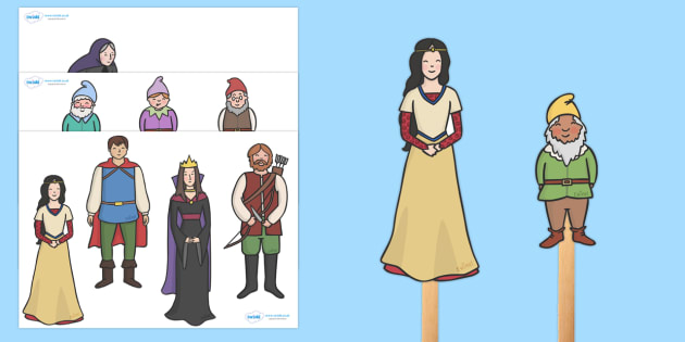 Snow White and the Seven Dwarfs Stick Puppets - Snow White and the Seven Dwarfs, Snow White, Dwarfs, Seven Dwarfs, traditional tale, story, story book, story sequencing, story resources, stick puppet, tale, magic mirror, the queen, prince, forest, ol