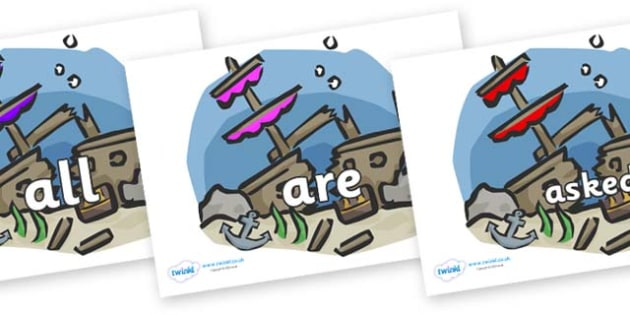 Tricky Words on Ship Wrecks - Tricky words, DfES Letters and Sounds, Letters and sounds, display, words