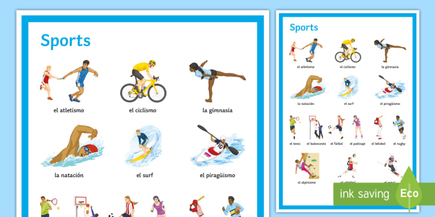 Sports Display Poster Spanish - Spanish, Vocabulary, sports, classroom, decoration, display, posters