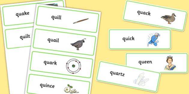 dyslexic qu word cards