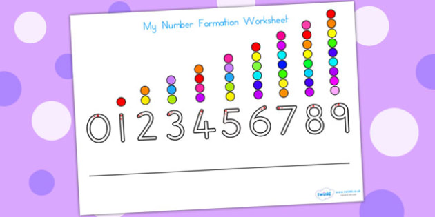 Number Formation Worksheet - number formation, motor skills, math, overwriting