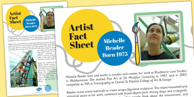 Artist Fact Sheet Michelle Reader - artist, fact, sheet, reader
