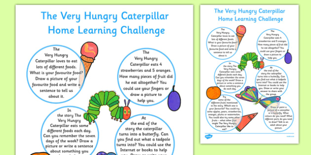 Home Learning Challenge Sheet to Support Teaching on The Very Hungry Caterpillar Reception FS2  - EYFS, homework, Early years, insects, minibeasts, Eric Carle