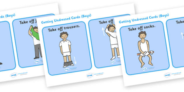 Getting Undressed Routine Cards (Boys) - daily routine, education, home school, child development, children activities, free, kids
