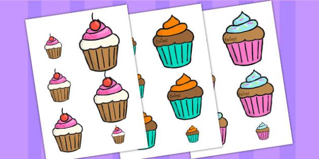 Cupcake Themed Size Ordering - cupcake, cupcake themed, themed ordering, size ordering, size order, size ordering activity, size and shape, shape, size