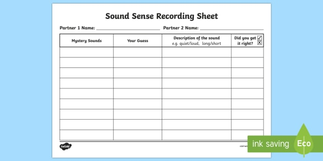 sound sense worksheet    activity sheet