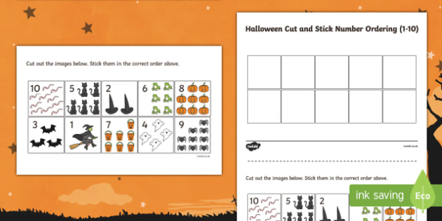 Halloween Themed Cut and Stick Number Ordering 1-10 Activity