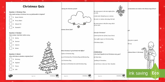 KS2 Christmas Quiz Worksheet / Worksheets - christmas ...