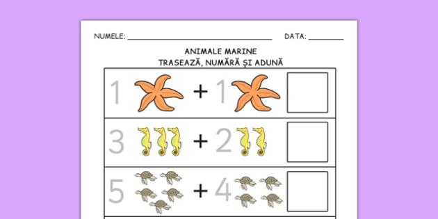 Animale marine - Fișă cu adunare - animale marine, pești, fișă, adunare, scădere, matematică, joc, integrate, mare, apă, materiale, materiale didactice, română, romana, material, material didactic