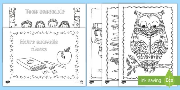 Coloriages anti-stress : La rentrée - rentrée, école, septembre, classe, premier jour, cycle 1, cycle 2, coloriage, back to School,French