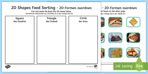 Food 2D Shape Sorting Activity English/German - maths