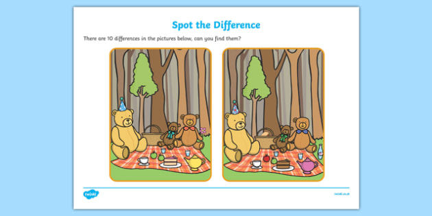 Teddy Bears Picnic Spot the Difference - spot the difference