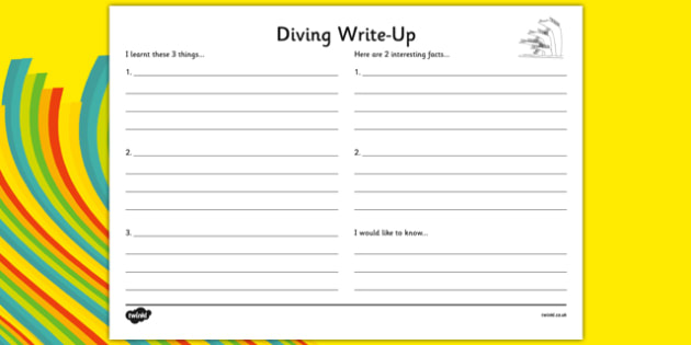 The Olympics Diving Write Up Worksheet - the olympics, rio olympics, 2016 olympics, rio 2016, diving, write up