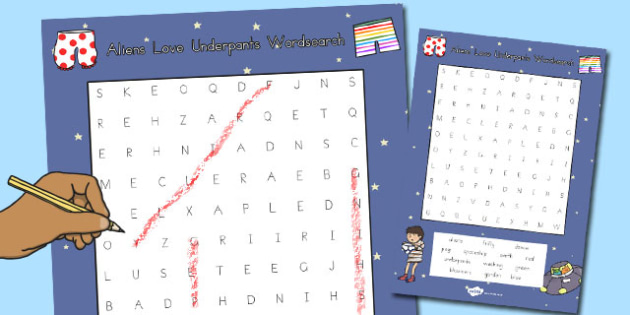 Word Search to Support Teaching on Aliens Love Underpants - australia, aliens, underpants
