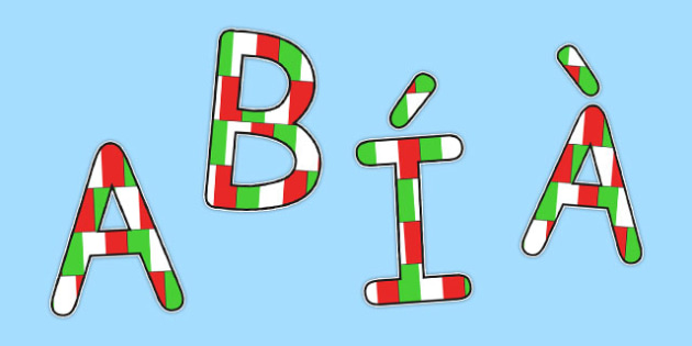 Italian Display Lettering Flags - italian, display, letter, flags