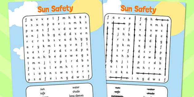 Sun Safety Wordsearch - sun, safety, wordsearch, word search