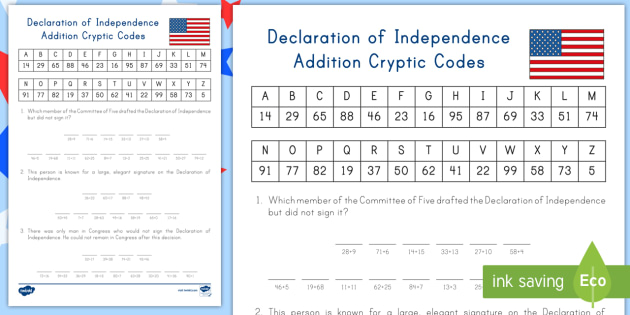 Declaration of Independence Addition Cryptic Codes Activity – Declaration of Independence Worksheet