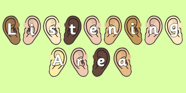Listening Area on Ears Display Cut Outs - listening, listen, area