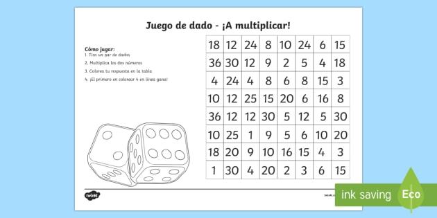 juego de dado a multiplicar Ficha de actividad