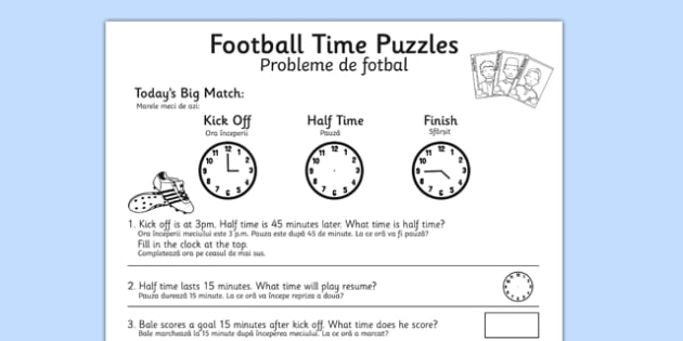 Football Themed Differentiated Time Activity Sheets Romanian Translation - romanian, football, euro 2016, worksheet