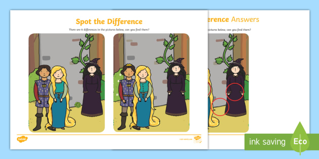 Rapunzel Storyboard Spot the Difference Activity - difference