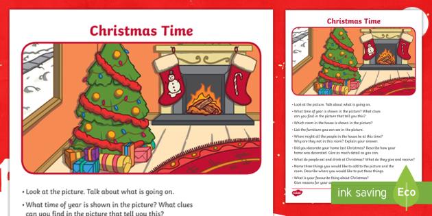 christmas time oral language worksheet worksheet worksheet talk and. Black Bedroom Furniture Sets. Home Design Ideas