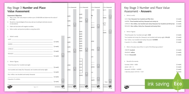 Key Stage 3 Number and Place Value Assessment Pack ...