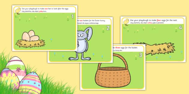 Easter Counting Playdough Mats Polish Translation - polish, mat, activity, playdough, play-doh, play doh, easter, counting, counting on, counting back, numeracy, easter counting mat, easter playdough, activity mat, activity, fun, playdough activity m