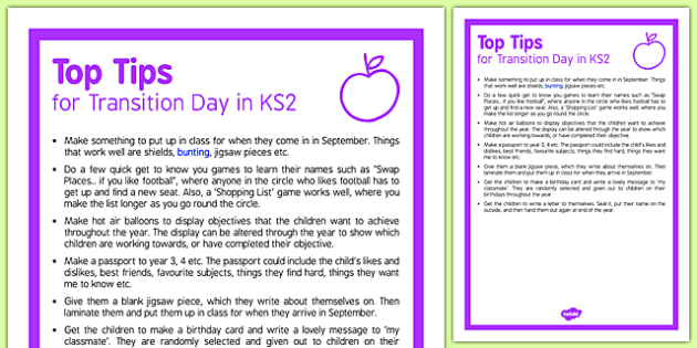 Transition Day in KS2 Top Tips - KS2 End of School Year Ideas