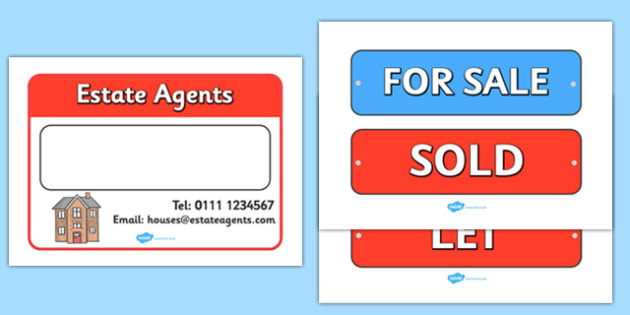 Estate Agents For Sale Sign - Estate Agents Role Play Pack, sign, estate agents, for sale, to let, house, properties, apartment, bungalow, cottage, semi-detached, tarraced, role play, display, poster