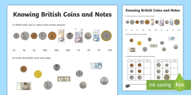 knowing british coins and notes worksheet activity sheet. Black Bedroom Furniture Sets. Home Design Ideas
