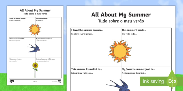 all about my summer activity sheet englishportuguese all
