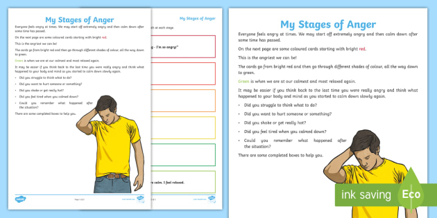 My Stages Of Anger Worksheet Activity Sheet Behaviour