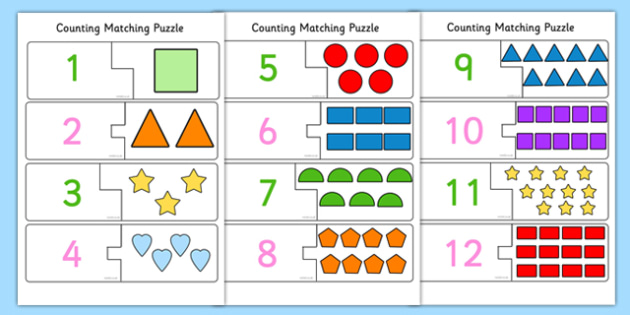 2D Shape Themed Counting Matching Puzzle - shapes, count, match