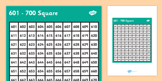 601-700 Square - 601, 700, square, number, number square, maths, numeracy