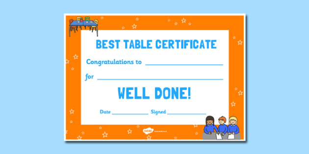 Best Table Award Certificate - best table, award, certificate, best, table