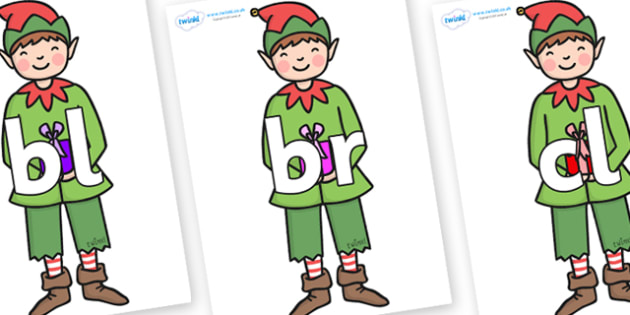 Initial Letter Blends on Green Elf (Boy) - Initial Letters, initial letter, letter blend, letter blends, consonant, consonants, digraph, trigraph, literacy, alphabet, letters, foundation stage literacy