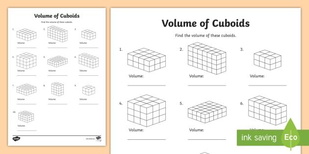 Volume of Cuboids Worksheet