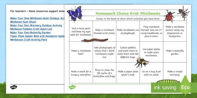 minibeast homework eyfs